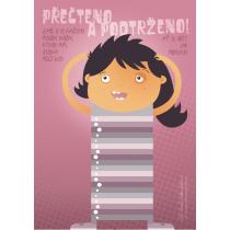 """Plakát """"Přečteno a podtrženo"""" pro vepsání knih - DÍVKA - A2"""