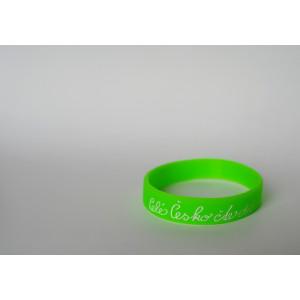 Silikonový náramek světle zelený s bílým nápisem - velký